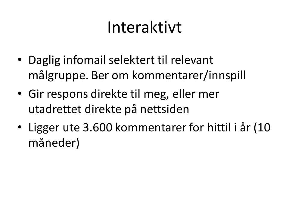 Interaktivt Daglig infomail selektert til relevant målgruppe. Ber om kommentarer/innspill Gir respons direkte til meg, eller mer utadrettet direkte på