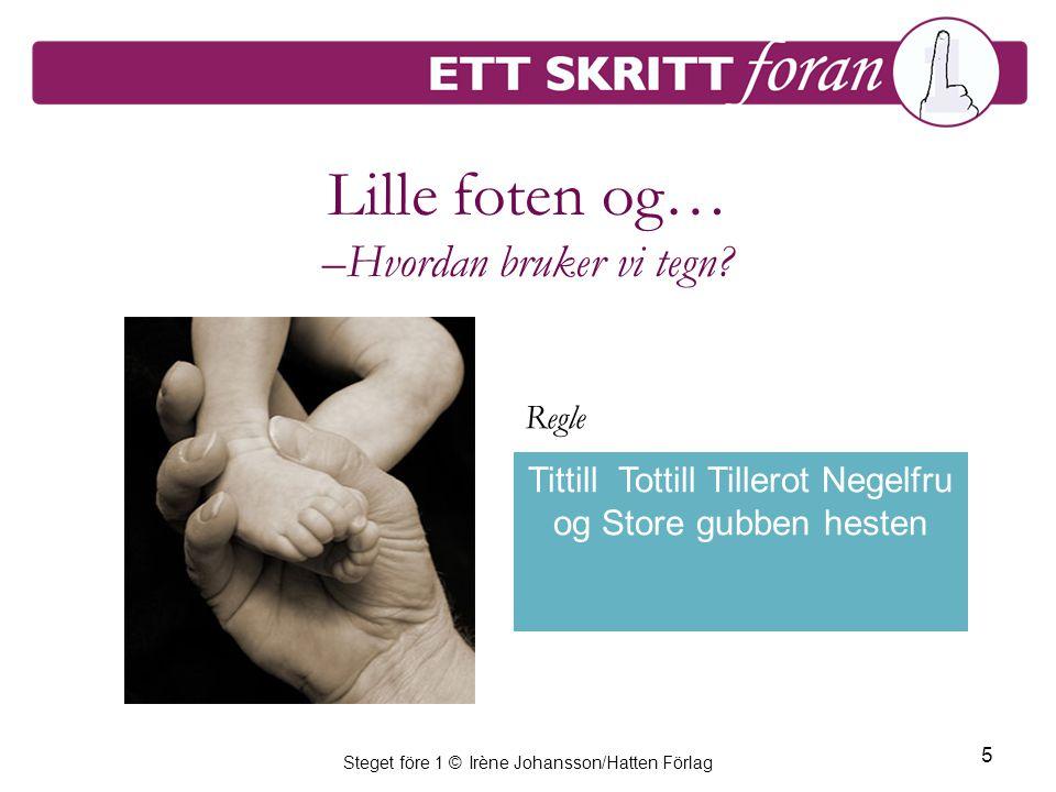 Steget före 1 © Irène Johansson/Hatten Förlag 5 Lille foten og… –Hvordan bruker vi tegn.
