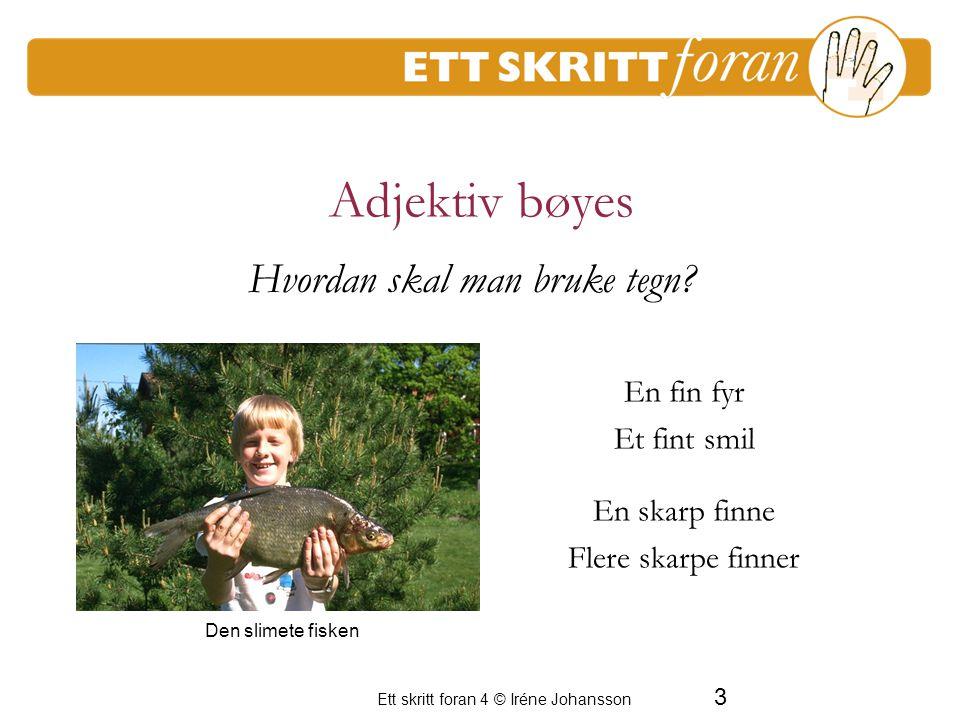 4 Ett skritt foran 4 © Iréne Johansson Mange adjektiv kan gradbøyes glad gladere gladest stor større størst En period av frustration för de vuxna Hvordan skal man bruke tegn.