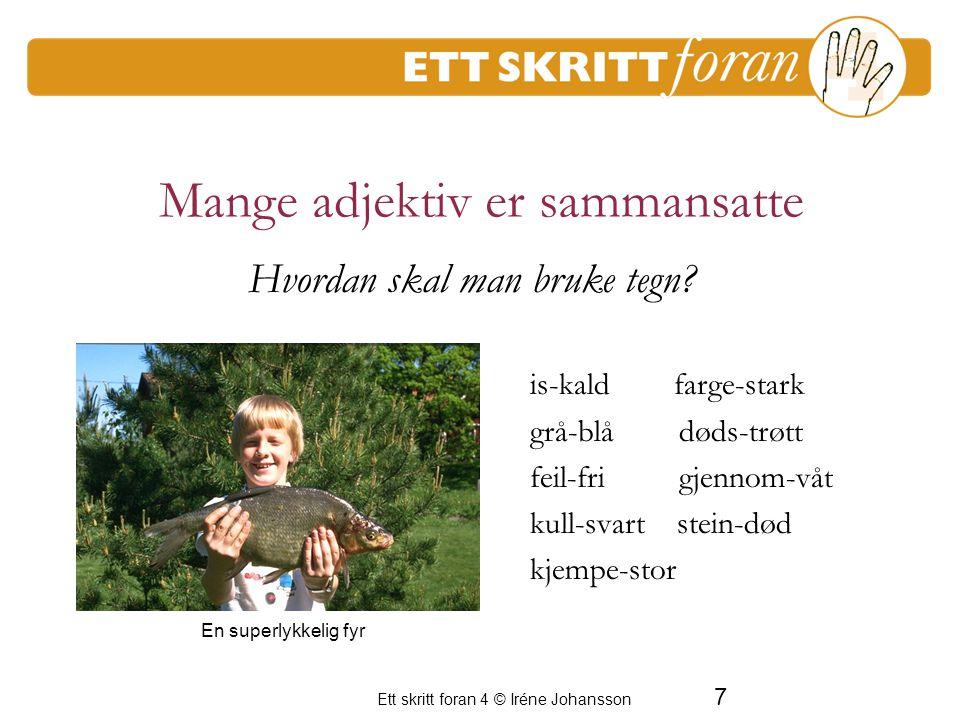 8 Ett skritt foran 4 © Iréne Johansson Mange adjektiv dannes slik barns-lig rust- en sky - et u-redd spar - som tyrk-isk En period av frustration för de vuxna Hvordan skal man bruke tegn.