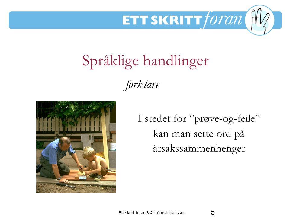 Ett skritt foran 3 © Irène Johansson 5 Språklige handlinger I stedet for prøve-og-feile kan man sette ord på årsakssammenhenger En period av frustration för de vuxna forklare