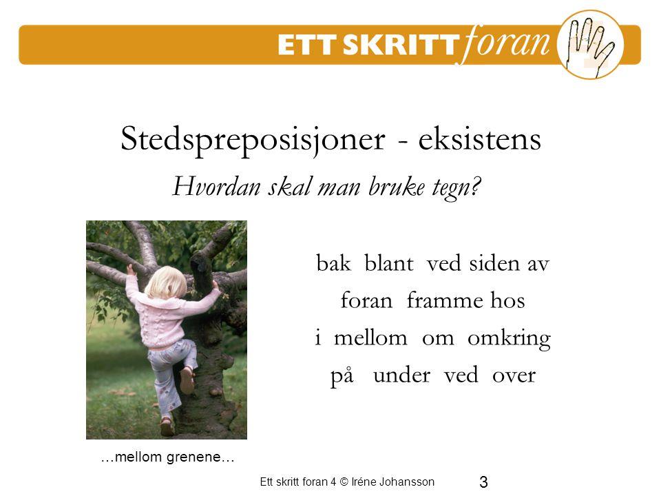 3 Ett skritt foran 4 © Iréne Johansson Stedspreposisjoner - eksistens bak blant ved siden av foran framme hos i mellom om omkring på under ved over En