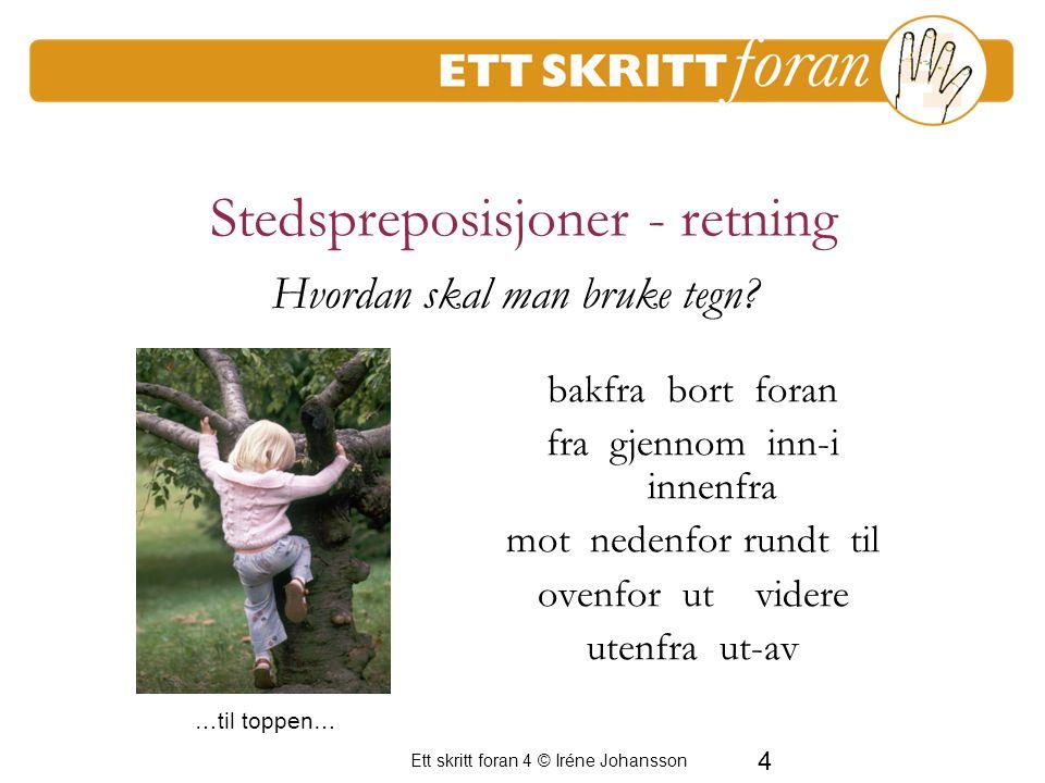 4 Ett skritt foran 4 © Iréne Johansson Stedspreposisjoner - retning bakfra bort foran fra gjennom inn-i innenfra mot nedenfor rundt til ovenfor ut vid