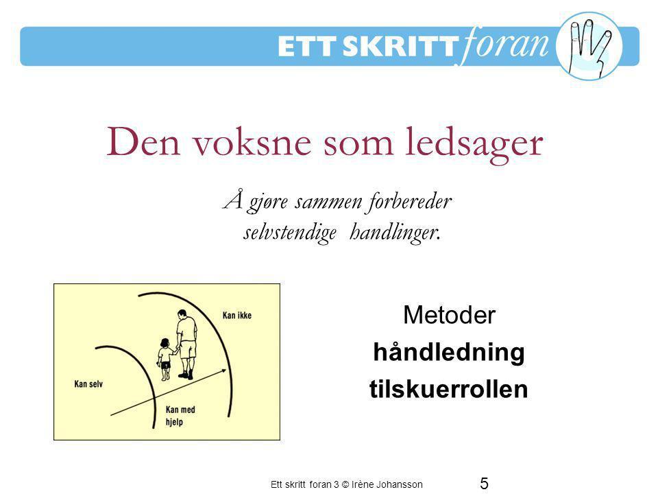 Ett skritt foran 3 © Irène Johansson 6 Den voksne som energigiver For å styrke barnets motivasjon til å lære mer Å hjelpe til med å lære seg selv Oppmuntre, støtte & møte barnet med respekt