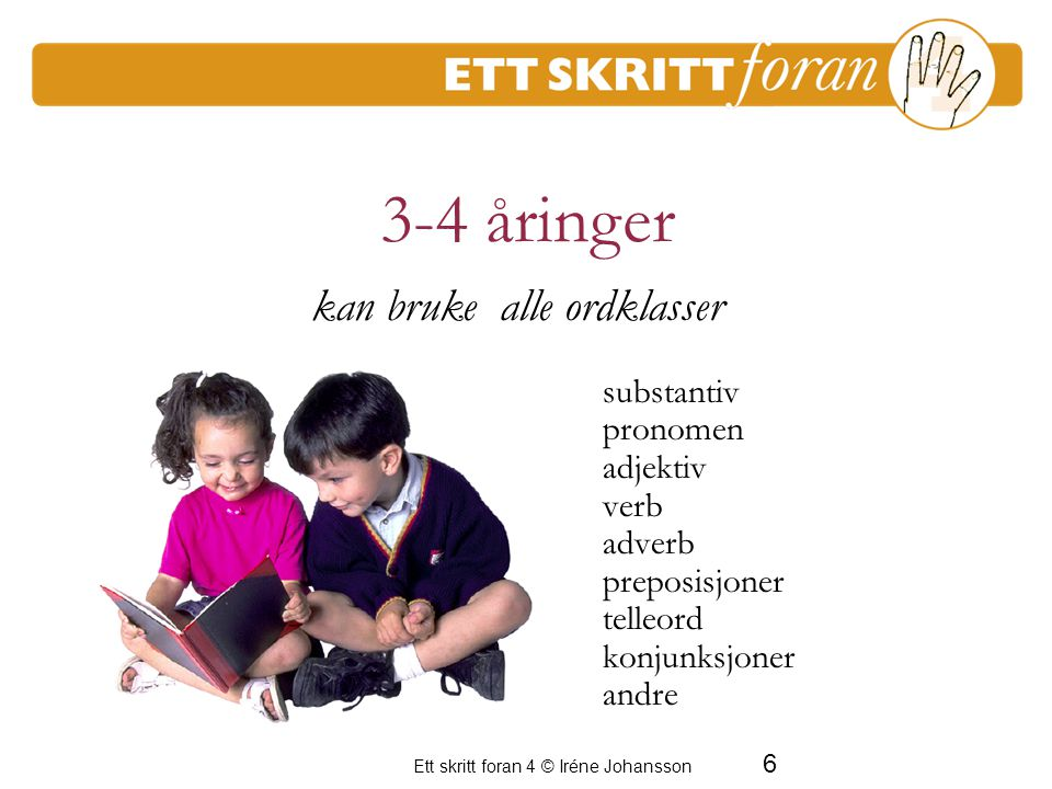 6 Ett skritt foran 4 © Iréne Johansson substantiv pronomen adjektiv verb adverb preposisjoner telleord konjunksjoner andre kan bruke alle ordklasser 3