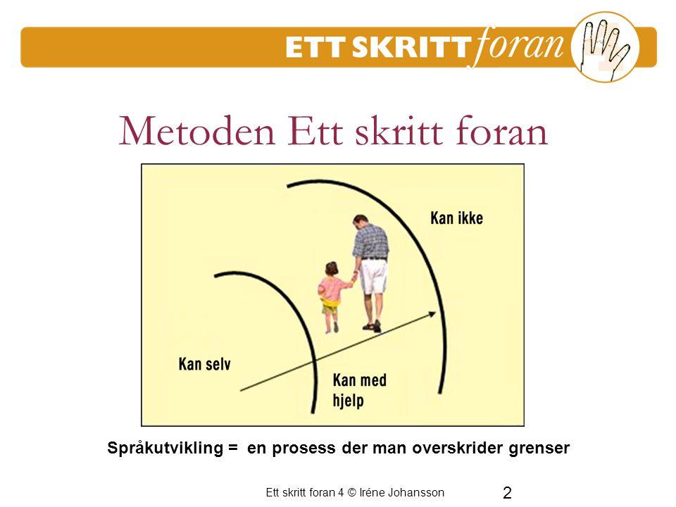 2 Ett skritt foran 4 © Iréne Johansson Metoden Ett skritt foran Språkutvikling = en prosess der man overskrider grenser