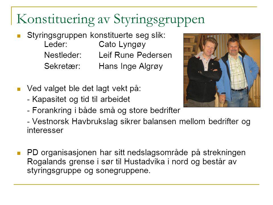 Konstituering av Styringsgruppen Styringsgruppen konstituerte seg slik: Leder:Cato Lyngøy Nestleder:Leif Rune Pedersen Sekretær: Hans Inge Algrøy Ved