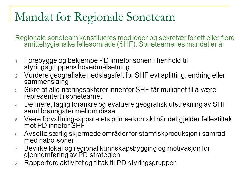 Mandat for Regionale Soneteam Regionale soneteam konstitueres med leder og sekretær for ett eller flere smittehygiensike fellesområde (SHF). Soneteame