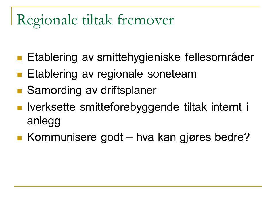 Regionale tiltak fremover Etablering av smittehygieniske fellesområder Etablering av regionale soneteam Samording av driftsplaner Iverksette smittefor