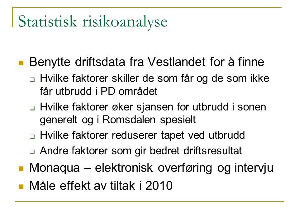 Statistisk risikoanalyse Benytte driftsdata fra Vestlandet for å finne  Hvilke faktorer skiller de som får og de som ikke får utbrudd i PD området 