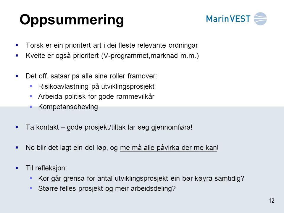 12 Oppsummering  Torsk er ein prioritert art i dei fleste relevante ordningar  Kveite er også prioritert (V-programmet,marknad m.m.)  Det off.