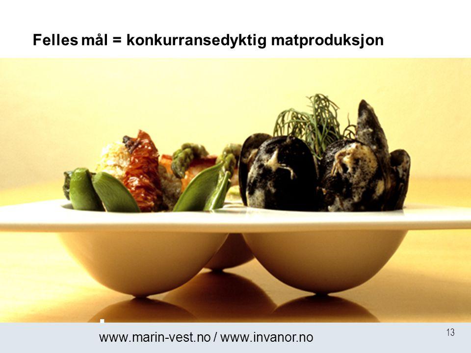13 Felles mål = konkurransedyktig matproduksjon  www.marin-vest.no / www.invanor.no