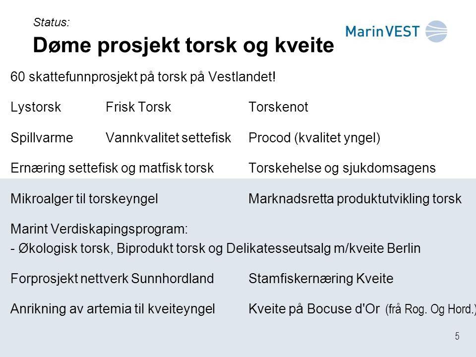 5 Status: Døme prosjekt torsk og kveite 60 skattefunnprosjekt på torsk på Vestlandet.