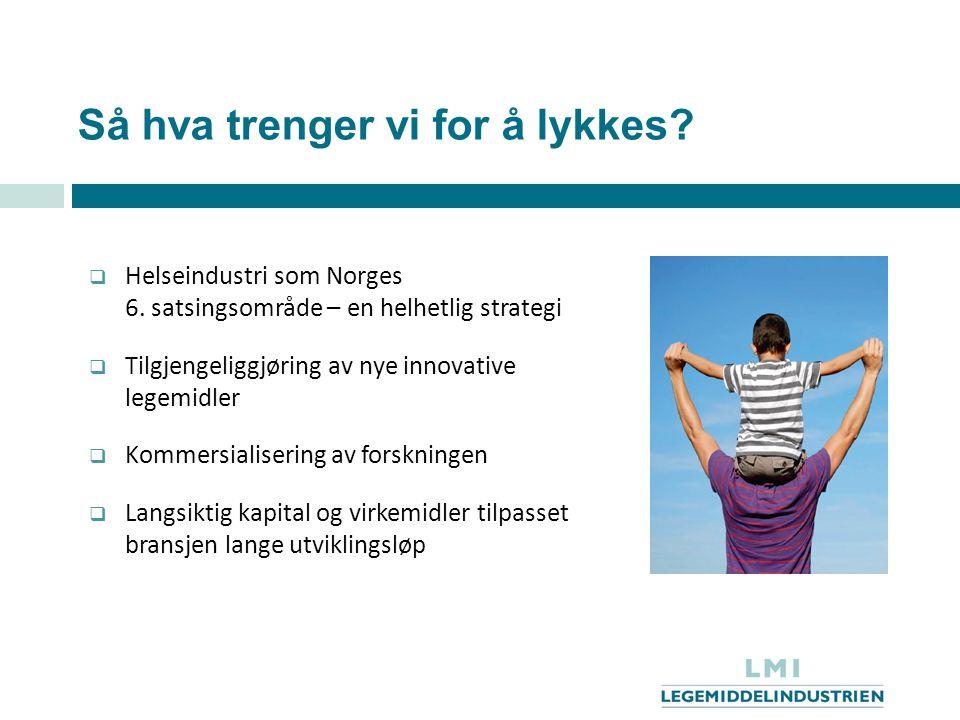 Så hva trenger vi for å lykkes?  Helseindustri som Norges 6. satsingsområde – en helhetlig strategi  Tilgjengeliggjøring av nye innovative legemidle