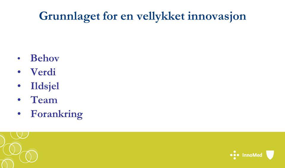 Grunnlaget for en vellykket innovasjon Behov Verdi Ildsjel Team Forankring