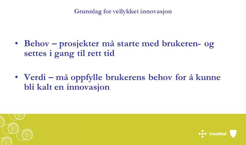 Grunnlag for vellykket innovasjon Behov – prosjekter må starte med brukeren- og settes i gang til rett tid Verdi – må oppfylle brukerens behov for å kunne bli kalt en innovasjon