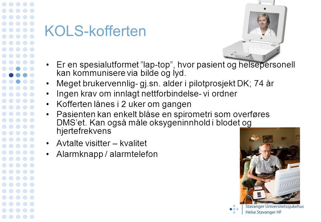 """KOLS-kofferten Er en spesialutformet """"lap-top"""", hvor pasient og helsepersonell kan kommunisere via bilde og lyd. Meget brukervennlig- gj.sn. alder i p"""