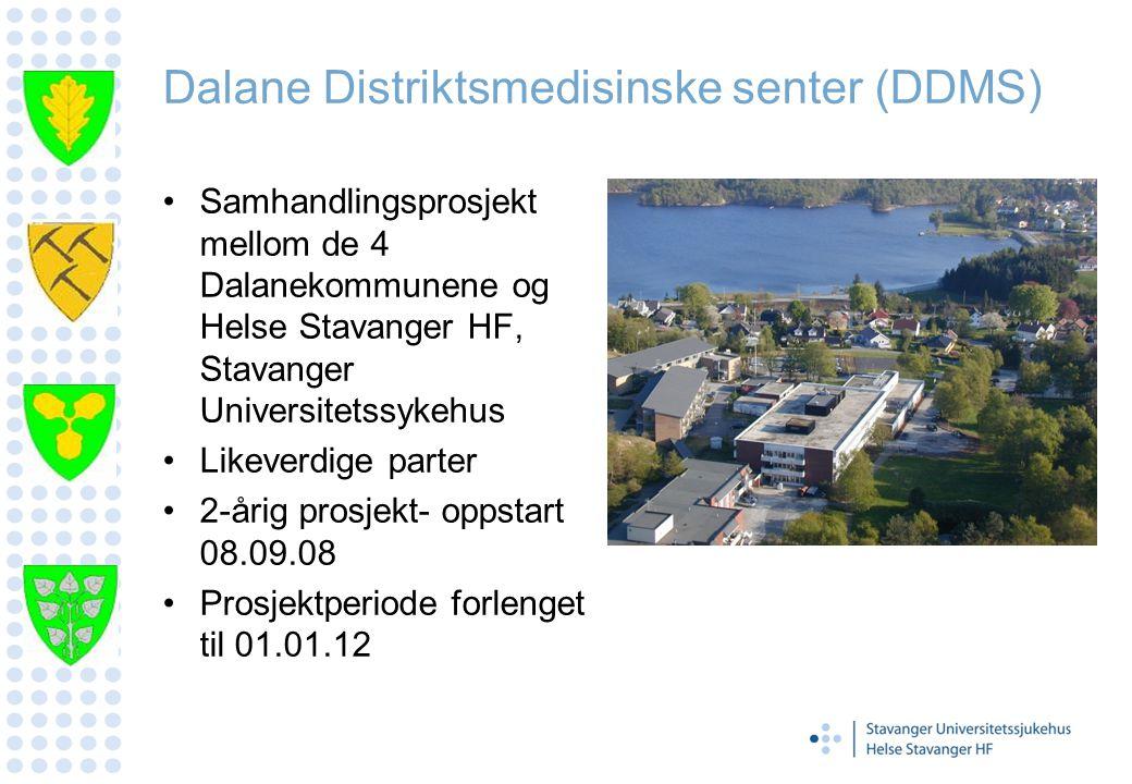 Dalane Distriktsmedisinske senter (DDMS) Samhandlingsprosjekt mellom de 4 Dalanekommunene og Helse Stavanger HF, Stavanger Universitetssykehus Likever