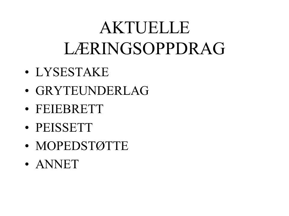 AKTUELLE LÆRINGSOPPDRAG LYSESTAKE GRYTEUNDERLAG FEIEBRETT PEISSETT MOPEDSTØTTE ANNET