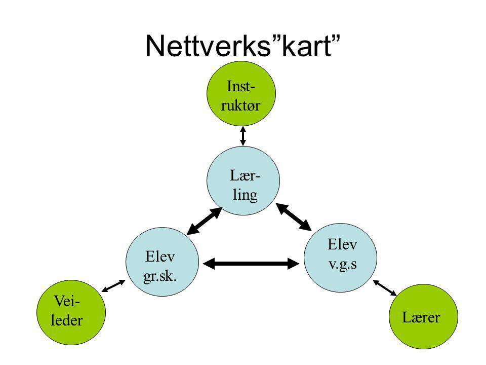 Nettverks kart Vei- leder Lærer Inst- ruktør Lær- ling Elev v.g.s Elev gr.sk.
