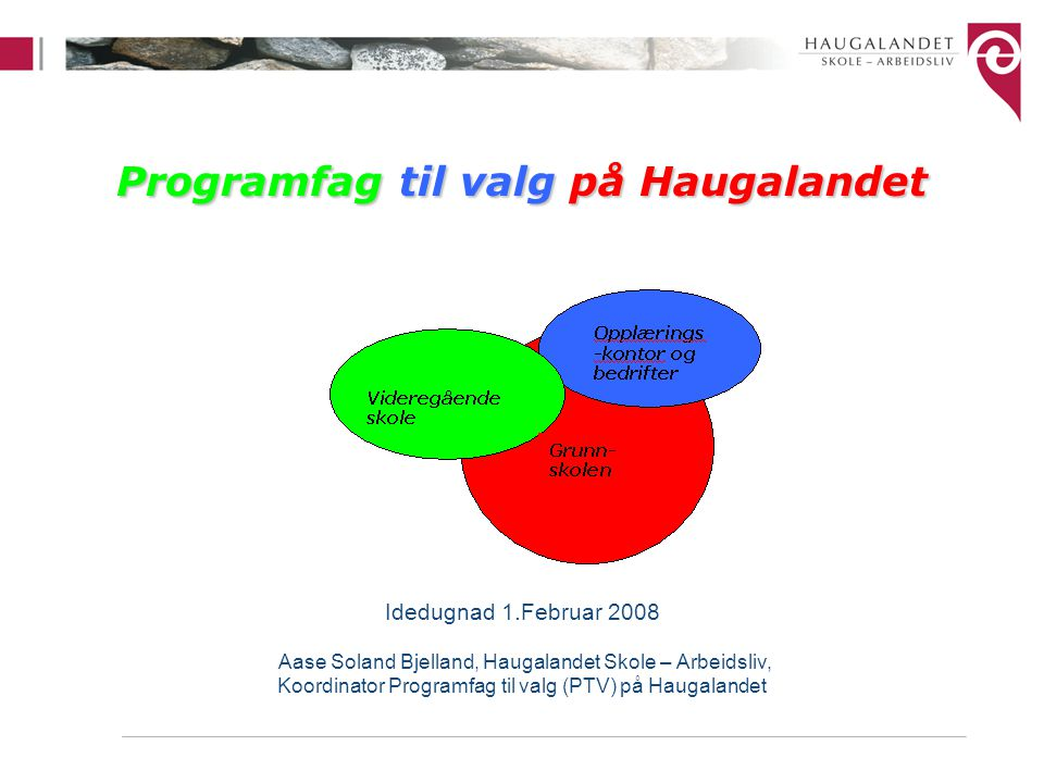 Programfag til valg på Haugalandet Idedugnad 1.Februar 2008 Aase Soland Bjelland, Haugalandet Skole – Arbeidsliv, Koordinator Programfag til valg (PTV) på Haugalandet