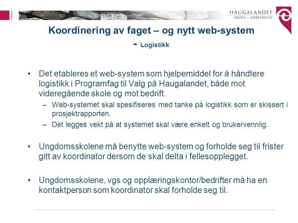 Koordinering av faget – og nytt web-system - Logistikk Det etableres et web-system som hjelpemiddel for å håndtere logistikk i Programfag til Valg på Haugalandet, både mot videregående skole og mot bedrift.