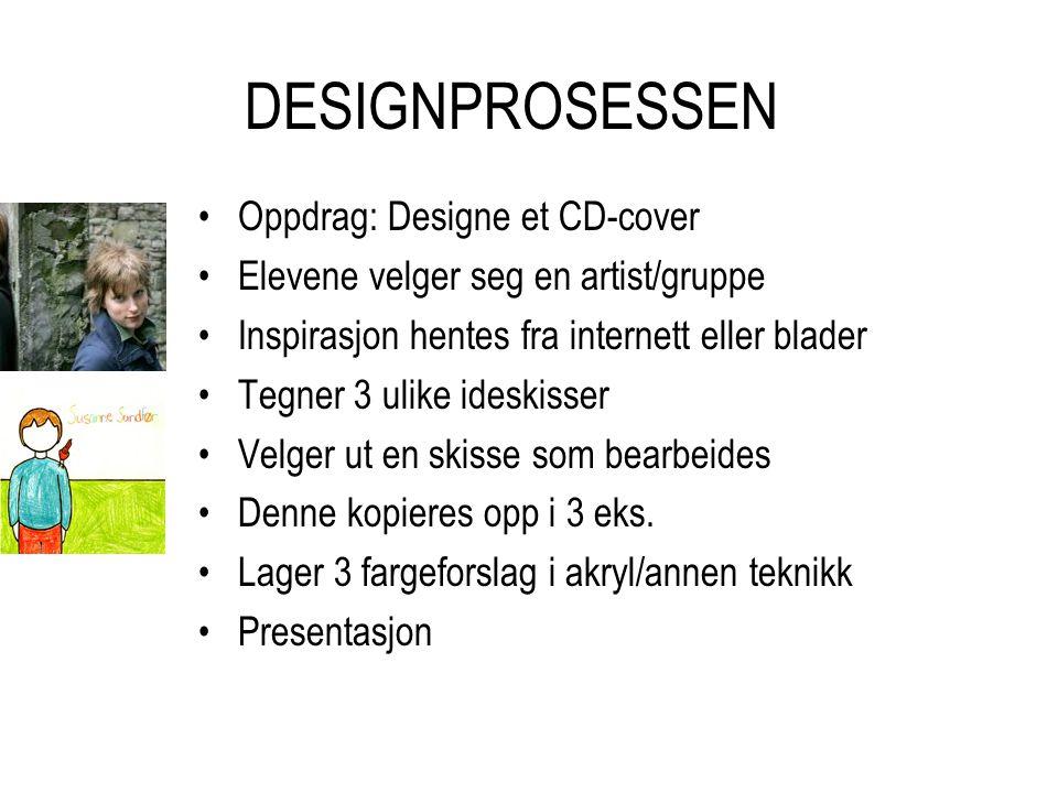 DESIGNPROSESSEN Oppdrag: Designe et CD-cover Elevene velger seg en artist/gruppe Inspirasjon hentes fra internett eller blader Tegner 3 ulike ideskiss