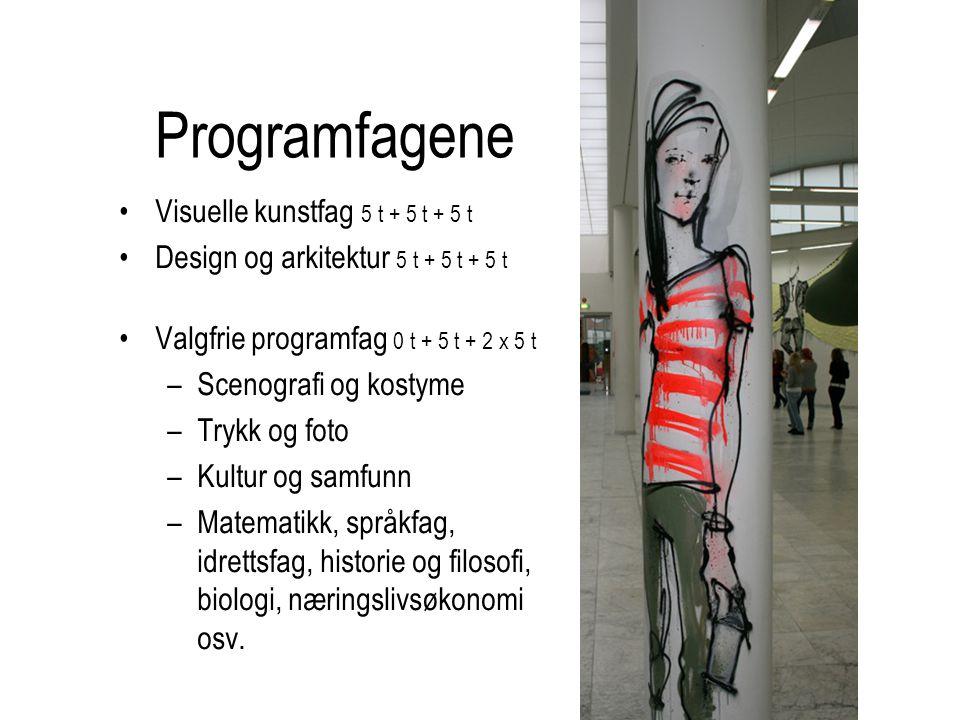 Programfagene Visuelle kunstfag 5 t + 5 t + 5 t Design og arkitektur 5 t + 5 t + 5 t Valgfrie programfag 0 t + 5 t + 2 x 5 t –Scenografi og kostyme –T