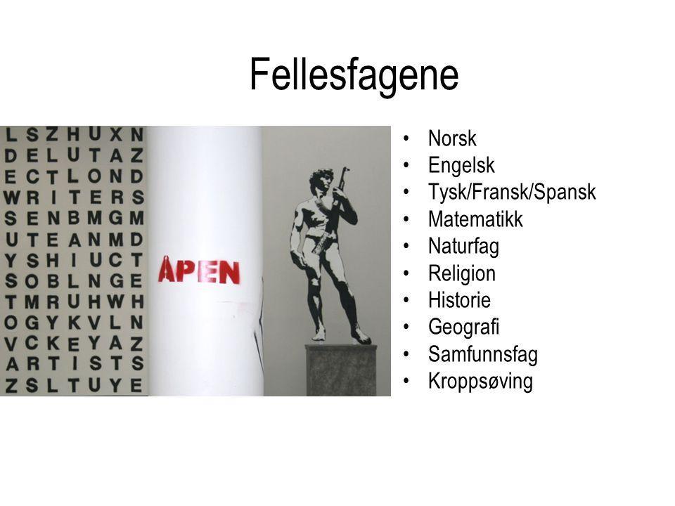 Fellesfagene Norsk Engelsk Tysk/Fransk/Spansk Matematikk Naturfag Religion Historie Geografi Samfunnsfag Kroppsøving