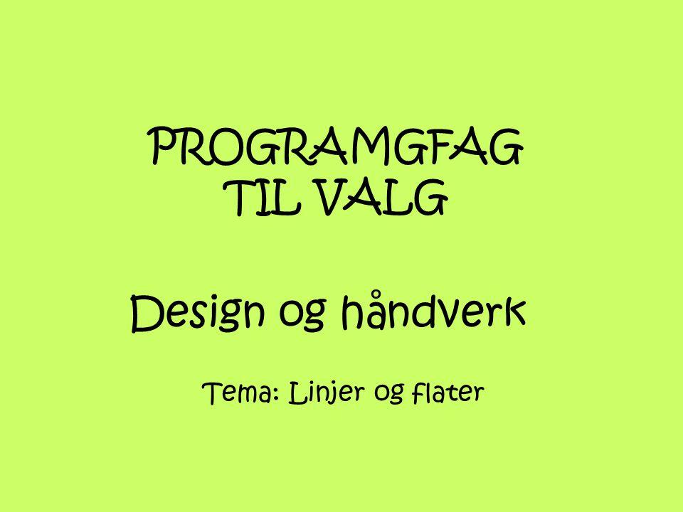 PROGRAMGFAG TIL VALG Design og håndverk Tema: Linjer og flater
