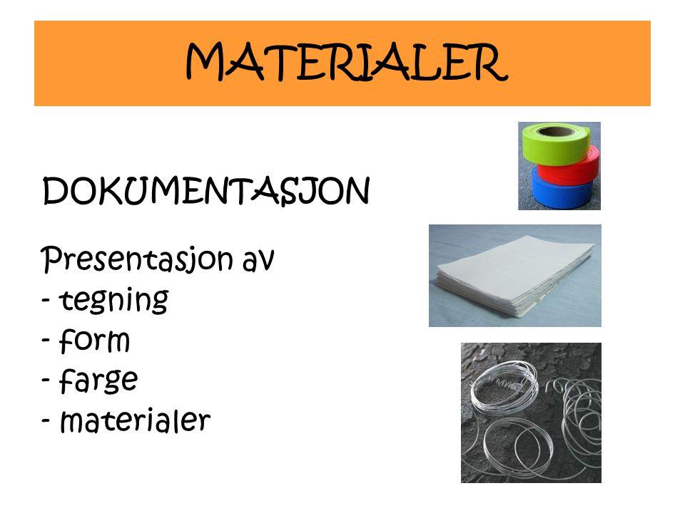 MATERIALER DOKUMENTASJON Presentasjon av - tegning - form - farge - materialer