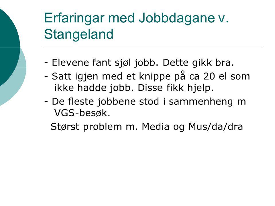 Erfaringar med Jobbdagane v. Stangeland - Elevene fant sjøl jobb. Dette gikk bra. - Satt igjen med et knippe på ca 20 el som ikke hadde jobb. Disse fi