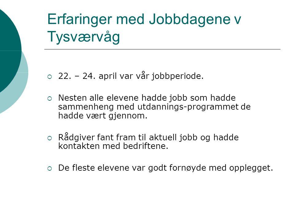 Erfaringer med Jobbdagene v Tysværvåg  22. – 24. april var vår jobbperiode.  Nesten alle elevene hadde jobb som hadde sammenheng med utdannings-prog