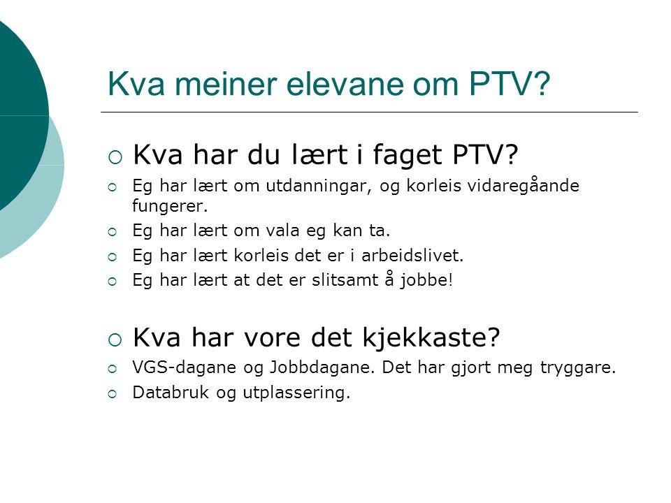 Kva meiner elevane om PTV?  Kva har du lært i faget PTV?  Eg har lært om utdanningar, og korleis vidaregåande fungerer.  Eg har lært om vala eg kan