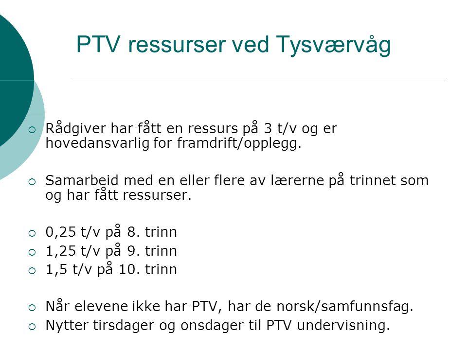 PTV ressurser ved Tysværvåg  Rådgiver har fått en ressurs på 3 t/v og er hovedansvarlig for framdrift/opplegg.  Samarbeid med en eller flere av lære