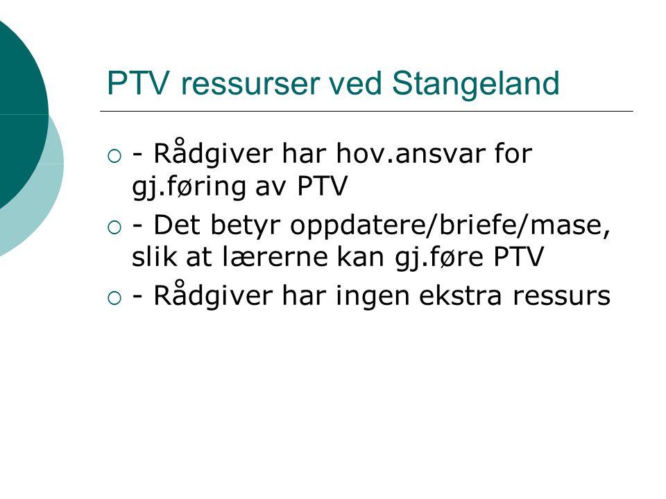 PTV ressurser ved Stangeland  - Rådgiver har hov.ansvar for gj.føring av PTV  - Det betyr oppdatere/briefe/mase, slik at lærerne kan gj.føre PTV  - Rådgiver har ingen ekstra ressurs