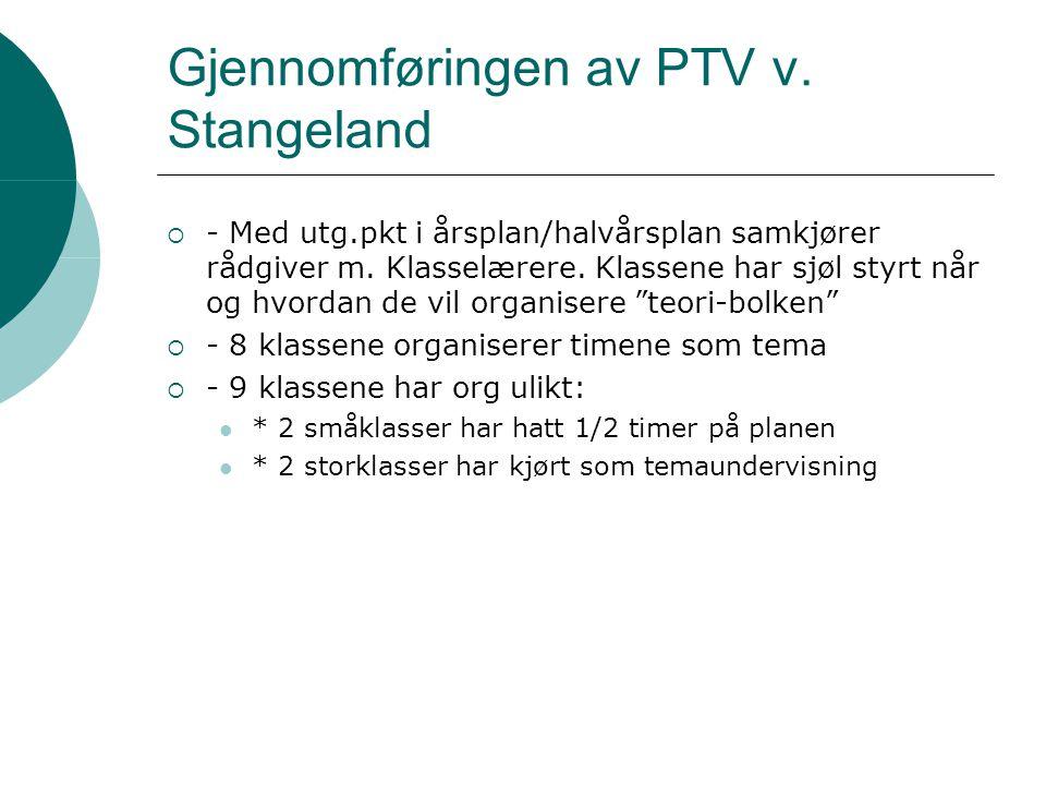 Gjennomføringen av PTV v. Stangeland  - Med utg.pkt i årsplan/halvårsplan samkjører rådgiver m. Klasselærere. Klassene har sjøl styrt når og hvordan