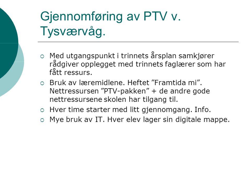 Gjennomføring av PTV v. Tysværvåg.  Med utgangspunkt i trinnets årsplan samkjører rådgiver opplegget med trinnets faglærer som har fått ressurs.  Br
