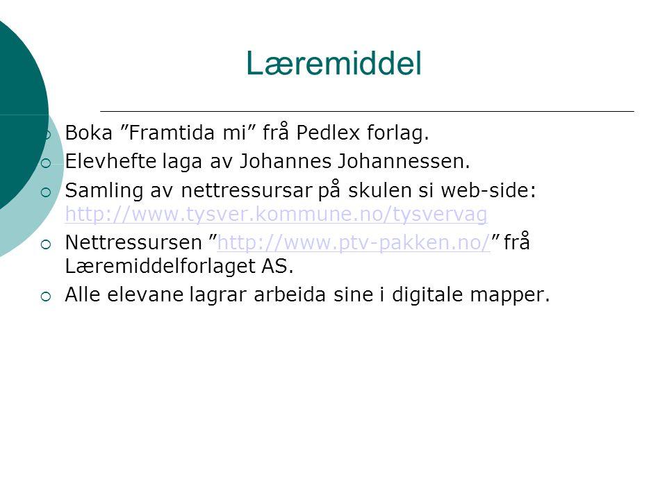 """Læremiddel  Boka """"Framtida mi"""" frå Pedlex forlag.  Elevhefte laga av Johannes Johannessen.  Samling av nettressursar på skulen si web-side: http://"""