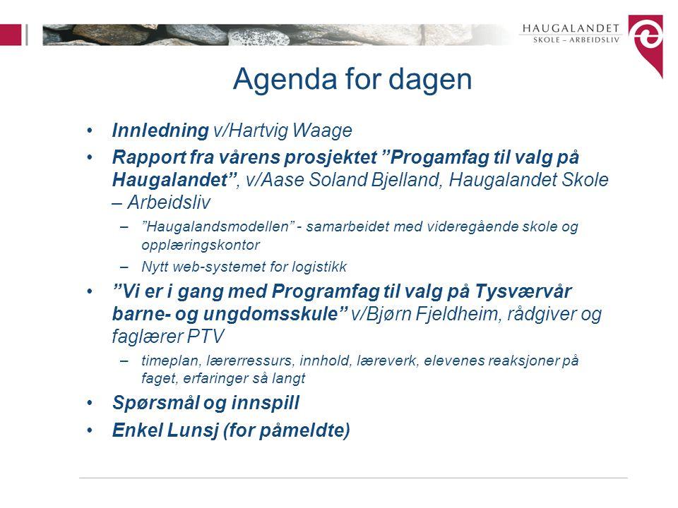 """Agenda for dagen Innledning v/Hartvig Waage Rapport fra vårens prosjektet """"Progamfag til valg på Haugalandet"""", v/Aase Soland Bjelland, Haugalandet Sko"""