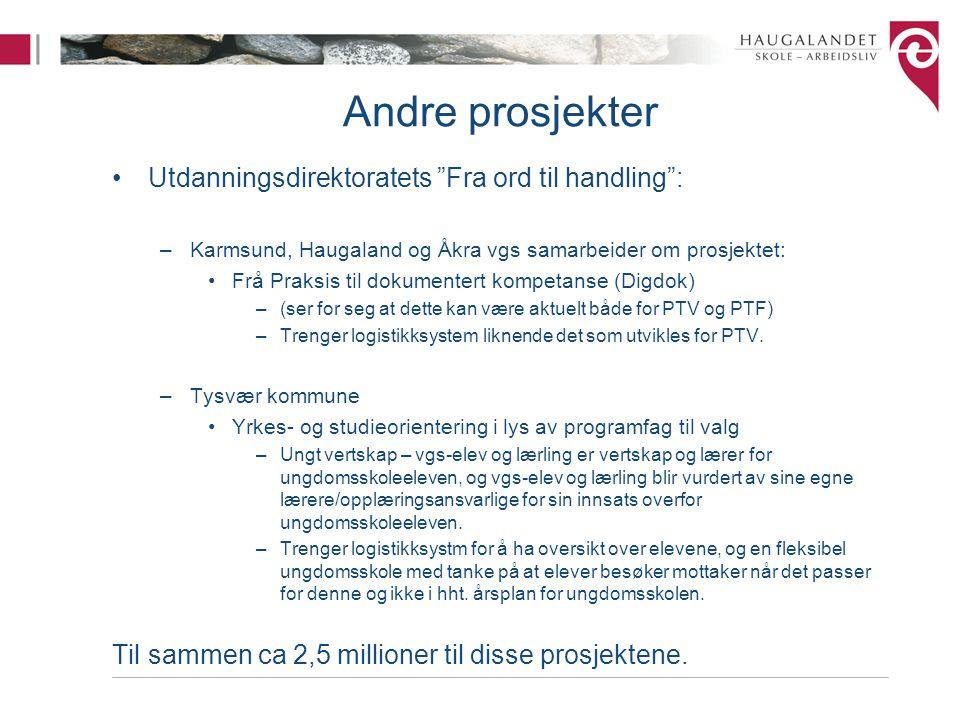 """Andre prosjekter Utdanningsdirektoratets """"Fra ord til handling"""": –Karmsund, Haugaland og Åkra vgs samarbeider om prosjektet: Frå Praksis til dokumente"""