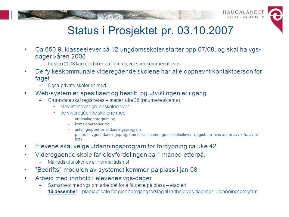 Status i Prosjektet pr. 03.10.2007 Ca 650 9. klasseelever på 12 ungdomsskoler starter opp 07/08, og skal ha vgs- dager våren 2008 –høsten 2008 kan det