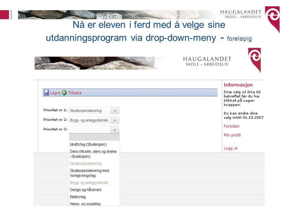 Nå er eleven i ferd med å velge sine utdanningsprogram via drop-down-meny - foreløpig