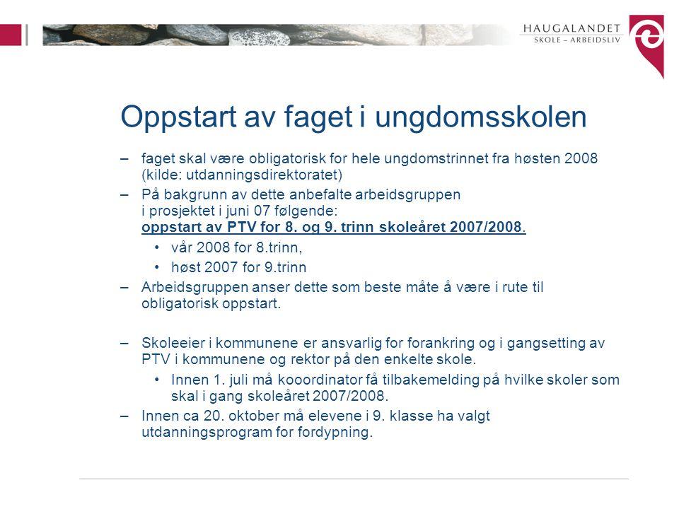 Nytt Web-system og koordinering av faget - Logistikk Det etableres et web-system som hjelpemiddel for å håndtere logistikk i Programfag til Valg på Haugalandet, både mot videregående skole og mot bedrift.