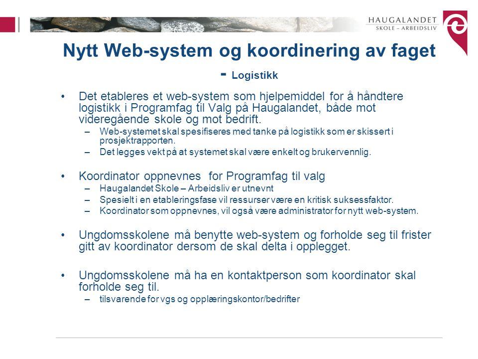 Nytt Web-system og koordinering av faget - Logistikk Det etableres et web-system som hjelpemiddel for å håndtere logistikk i Programfag til Valg på Ha