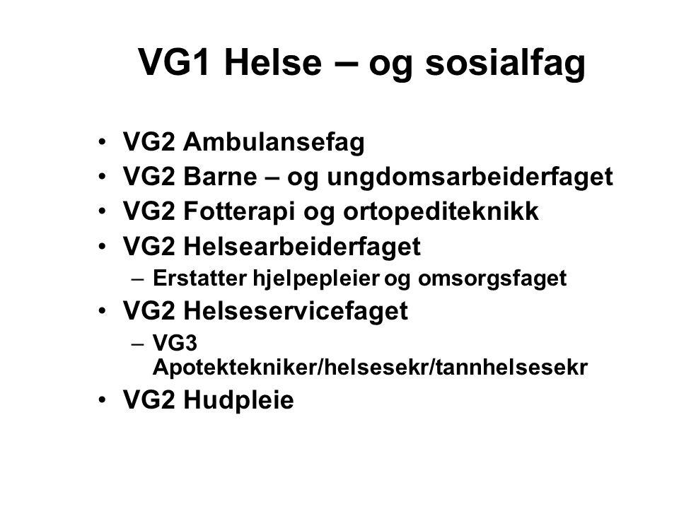 VG1 Helse – og sosialfag VG2 Ambulansefag VG2 Barne – og ungdomsarbeiderfaget VG2 Fotterapi og ortopediteknikk VG2 Helsearbeiderfaget –Erstatter hjelpepleier og omsorgsfaget VG2 Helseservicefaget –VG3 Apotektekniker/helsesekr/tannhelsesekr VG2 Hudpleie