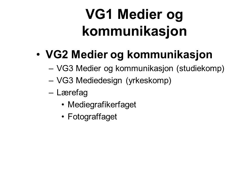 VG1 Medier og kommunikasjon VG2 Medier og kommunikasjon –VG3 Medier og kommunikasjon (studiekomp) –VG3 Mediedesign (yrkeskomp) –Lærefag Mediegrafikerfaget Fotograffaget