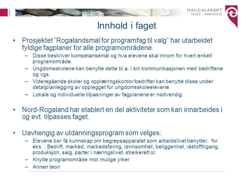 """Innhold i faget Prosjektet """"Rogalandsmal for programfag til valg"""" har utarbeidet fyldige fagplaner for alle programområdene. –Disse beskriver kompetan"""
