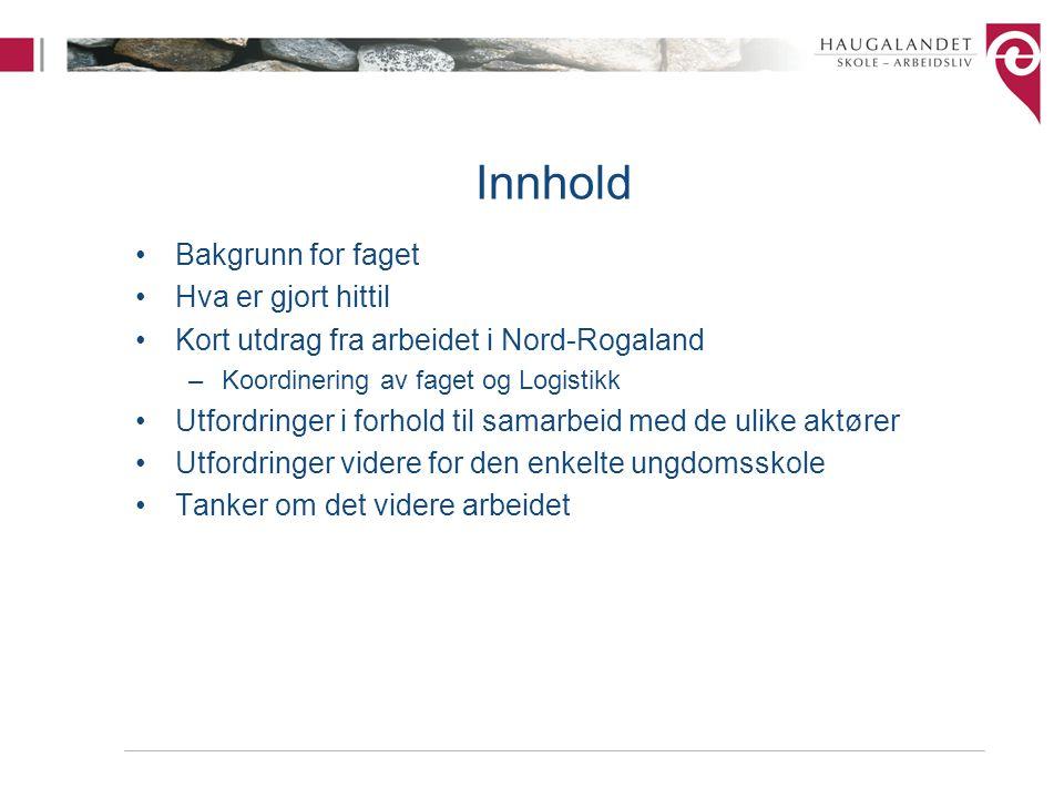 Innhold Bakgrunn for faget Hva er gjort hittil Kort utdrag fra arbeidet i Nord-Rogaland –Koordinering av faget og Logistikk Utfordringer i forhold til
