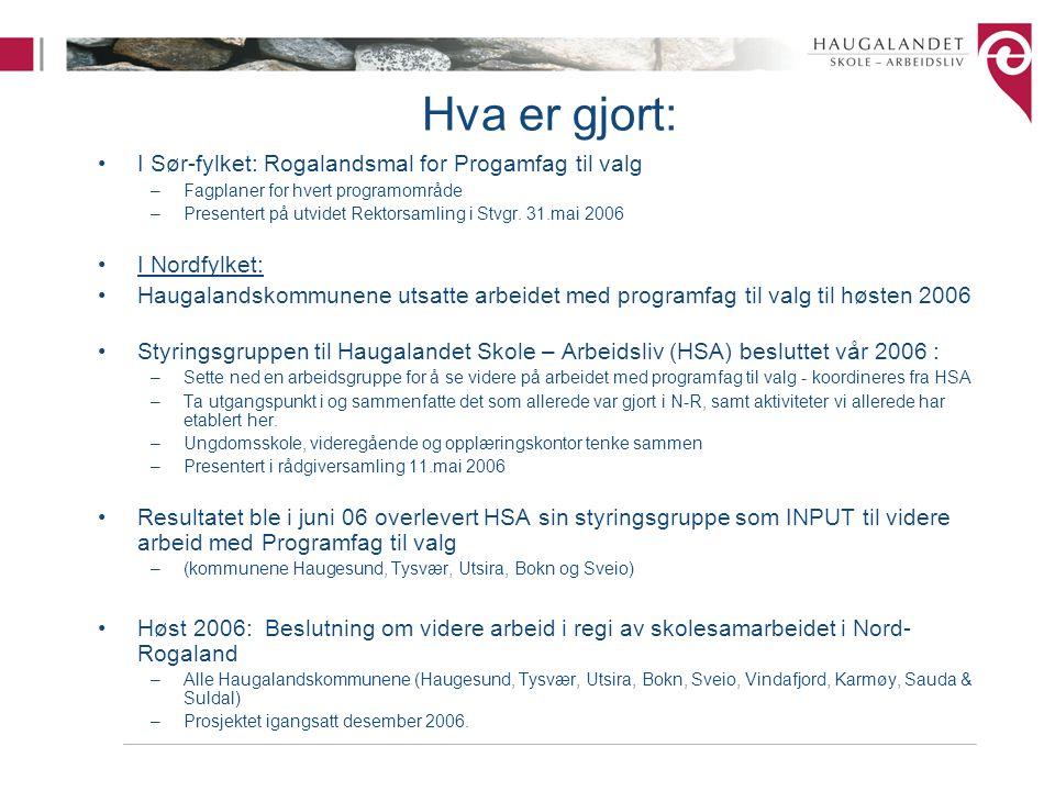 Hva er gjort: I Sør-fylket: Rogalandsmal for Progamfag til valg –Fagplaner for hvert programområde –Presentert på utvidet Rektorsamling i Stvgr. 31.ma